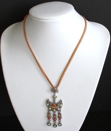 Vintage Orange Rhinestone Leather Necklace