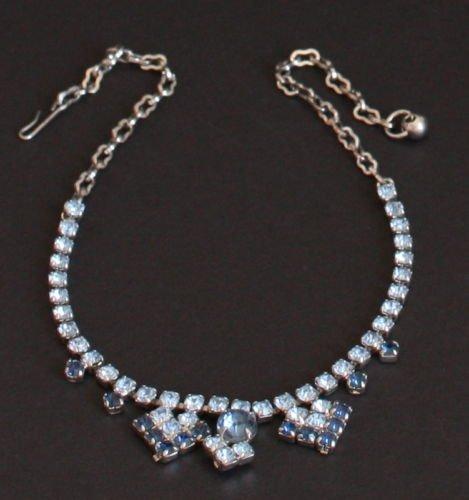 Vintage Blue Rhinestones Necklace