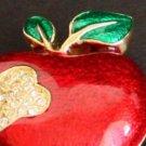 Vintage Rhinestone Red Forbidden  Apple Pin/Brooch