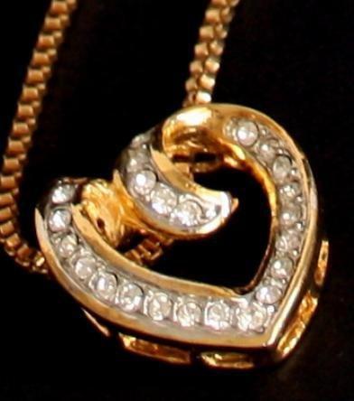 Vintage Heart  Rhinestone Necklace/Pendant Deco Revival
