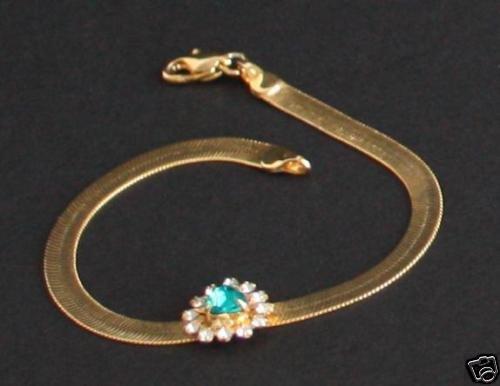 Vintage Liquid Chain Green Rhinestone Bracelet