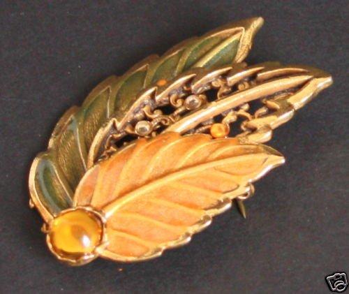 Vintage Signed KC Leaf Fall Color Pin/Brooch