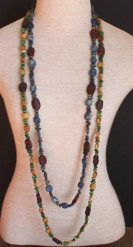Vintage  Bean Beads Long Strand Necklaces Unique!