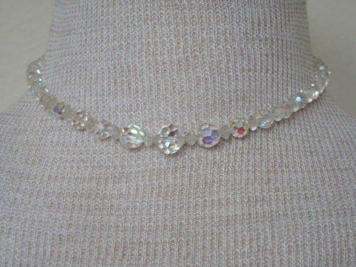 Vintage One Strand  Aurora Borealis Glass Necklace