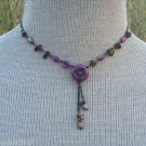 Vintage Purple Agate Stone Cute Necklace