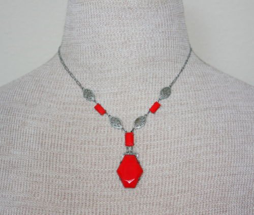 Vintage Antique Art Deco Red Glass Filigree Necklace