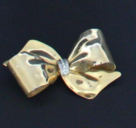 Vintage Art Deco Rhinestone Gold Large Bow Pin/Brooch