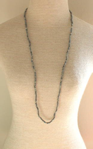 Vintage Gray Stone Long Strand Necklace 34""