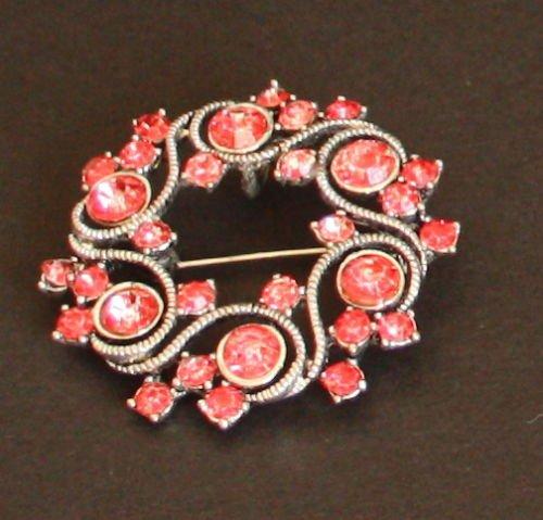 Vintage Red Rhinestone pin/Pendant 1950s