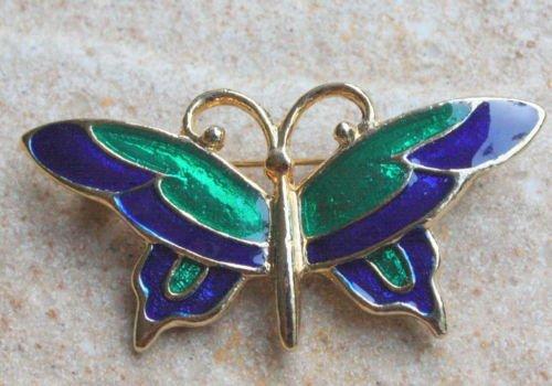 Cute Vintage Green Enamel Butterfly Pin Brooch