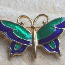 Cute Vintage Green Enamel Butterfly Pin Brooch