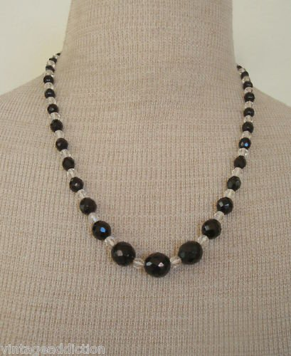 Vintage Art Deco Black & White Faceted Glass Necklace