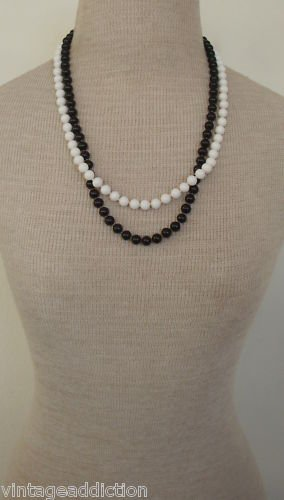 Vintage Black & White Glass Double Strands Necklace