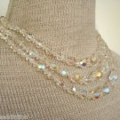 Vintage White  Aurora Borealis Crystal Glass  Necklace