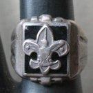 Vintage Silver Fleur De Lis Boy Scout Chunky Ring SZ 6
