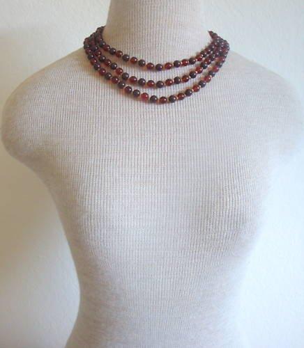 Vintage Lisner Brown Lucite Multi Strand Necklace