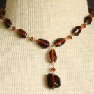 Vintage Brown Glass Bracelet Necklace Parure Set