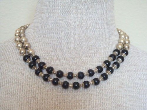 Vintage LC Black &  Silver Metal Two Strands Necklace