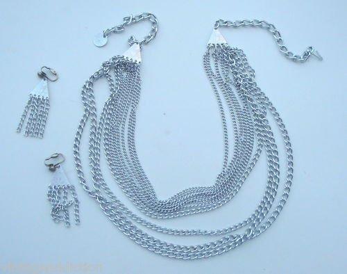 Vintage Silver Multichain Necklace Earrings Set