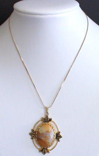 Vintage Victorian Revival Stone Pendant Chain Necklace