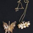 Vintage Rhinestone Butterfly Monet Brooch & Necklace