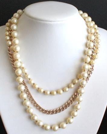 Vintage  Pearl ChainTriple Strand Necklace Japan