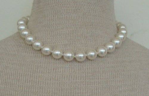 Vintage Creamy White Faux Pearl 14 MM Necklace