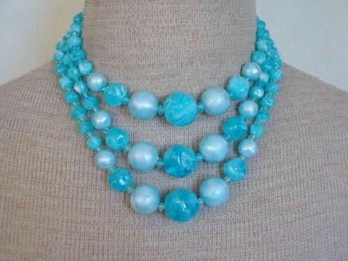 Vibrant Vintage Blue Oversize Bead  3 Strands Necklace