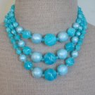 Vibrant Vintage Blue Oversize Bead  3 Strands Necklace