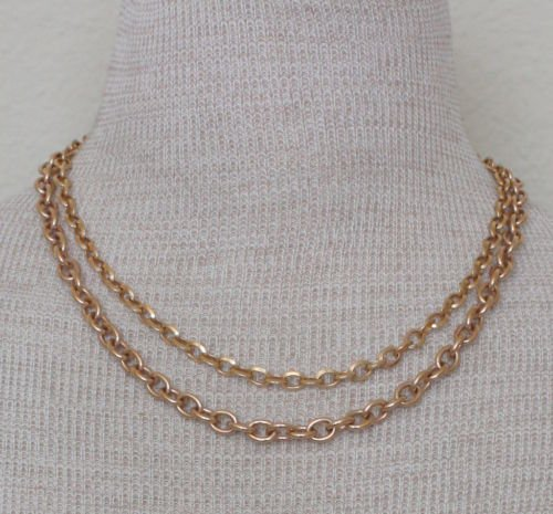 Edforce Copper  & Gold Tone Double Chain Necklace