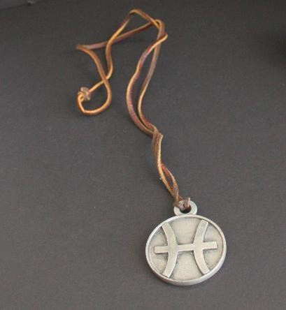 Unique Vintage Pewter Zodiac Necklace Leather Pendant