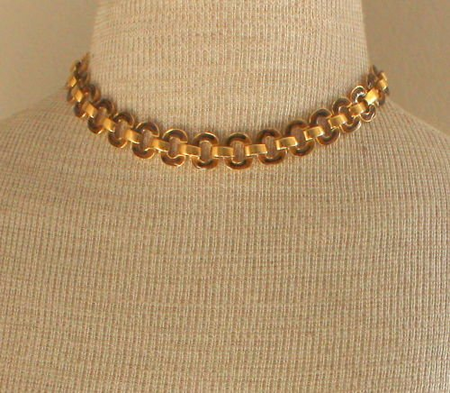 Vintage Gold Tone Enamel Chain Choker Necklace