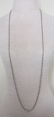 """Vintage Silver Long FOB Chain 46 1/2"""""""