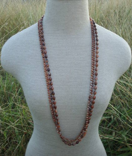 """Vintage Brown Bead Multistrand  36"""" Long Necklace"""