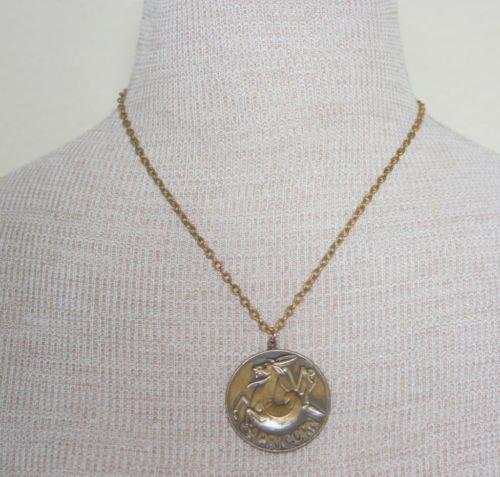 Vintage Brass Zodiac Capricorn Pendant Chain Necklace