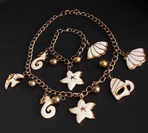 Vintage Sea Life Design Necklace Bracelet Set Cute !