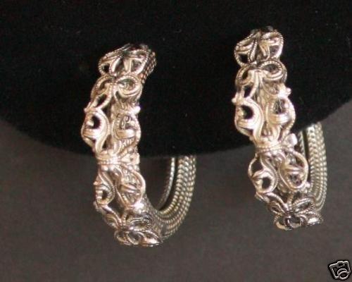 Vintage Silver Tone Hoop Earrings Chunky!