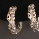 Vintage Silver Tone Hoop Earrings Chunky!