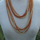 "Vintage Brown Amber 3 mm 45"" Long Multistrand Necklace"