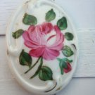 Vintage Art Deco Porcelain Flower Cameo Pin / Brooch