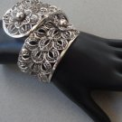 Vintage Chunky Chrome Filligree Hinged Clamper Bracelet