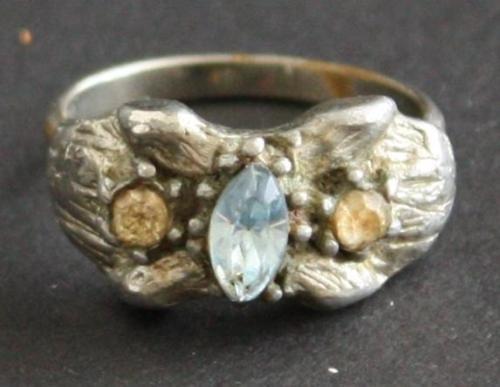Vintage Vogue Sterling  Blue Topaz Ring Adjustable