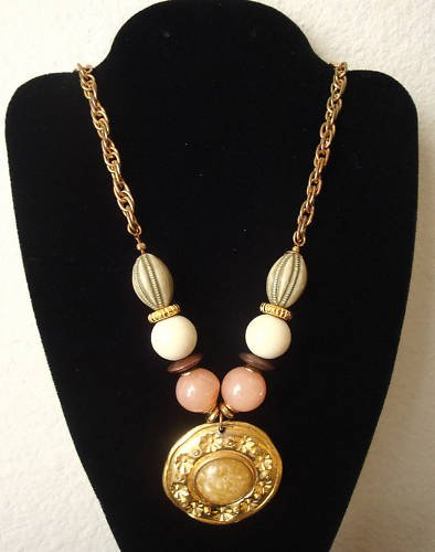 Vintage Colorful Bead Chunky Necklace/Pendant Unique!