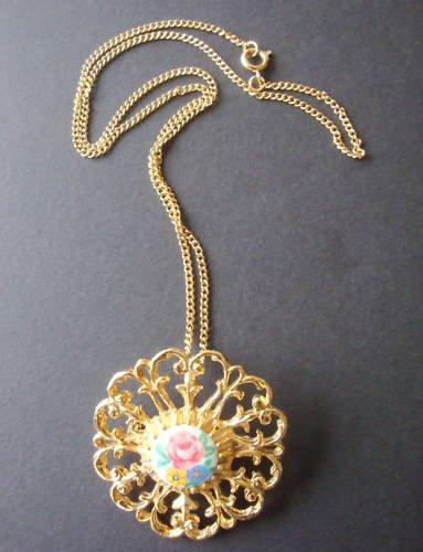 Vintage Victorian revival flower pin pendant necklace