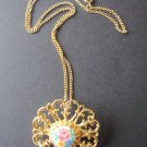 Vintage Victorian revival flower pin pendant necklace