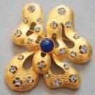 Vintage Blue Rhinestone Pendant/Pin/Brooch Signed Ivana