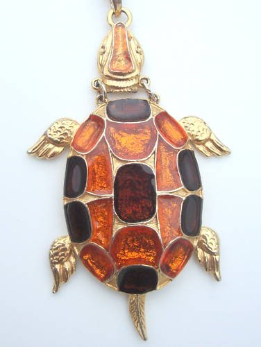 Vintage Chunky Turtle Glass Pendant Necklace Boho 70s