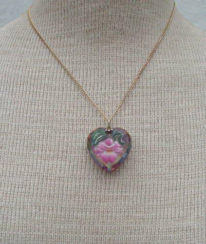 Vintage Pink Flower Glass Heart Pendant Necklace
