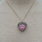 Vintage Pink Flower Glass Heart Pendant Necklace