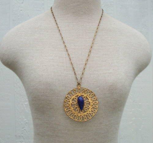 Vintage Art Deco Chunky Medallion Pendant Necklace